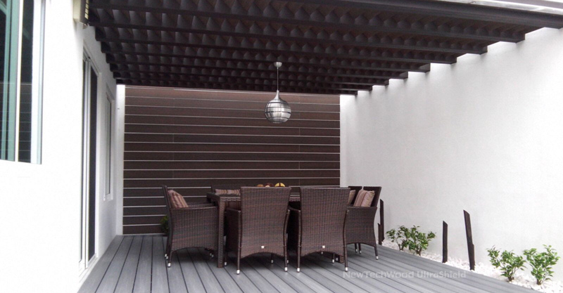 Alfresco using UltraShield decorative screening in Walnut.