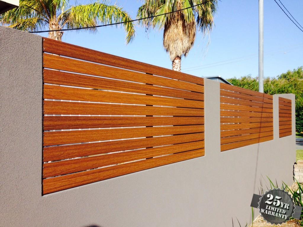UltraShield slat fencing in Teak, used for front fence.