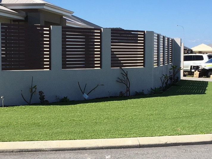 composite timber slat fence, front boundary