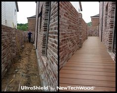 Before and after: NewTechWood compsite wood pathway versus dirt.