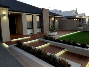 landscape lighting t o enhance composite timber decking