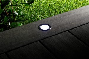 lighting set into decking boards