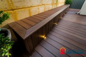 lights inset into side of composite decking seat