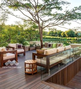 composite timber decking, with chairs trees
