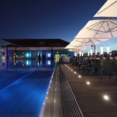 Commercial pool decking with lights