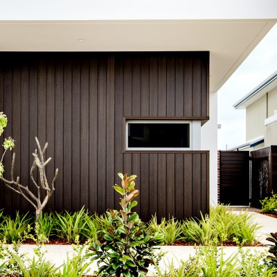 NewTechWood Walnut composite wall cladding on a home in Perth