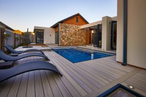 NewTechWood composite timber decking in Antique used for pool decking
