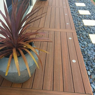 Decking in Teak with LED Deck lights