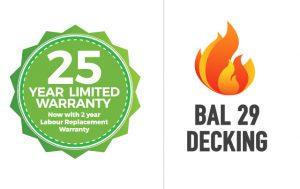 25 year limited warranty BAL 29 Decking