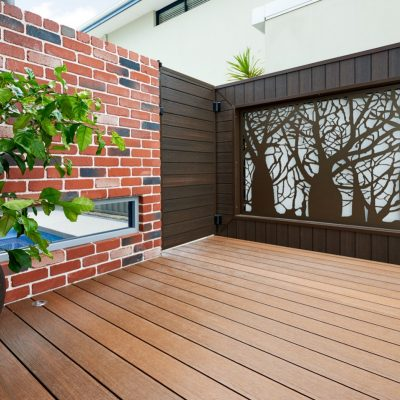 NewTechWood Wall Cladding (Walnut) and Decking (Teak)