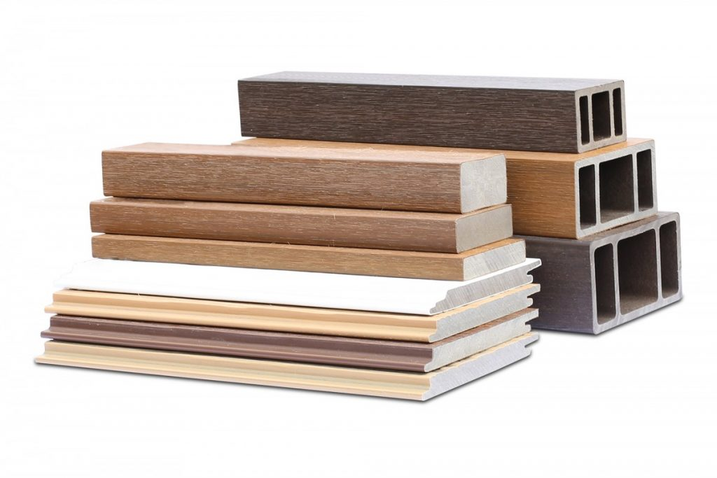 NewTechWood cladding profiles in a stack