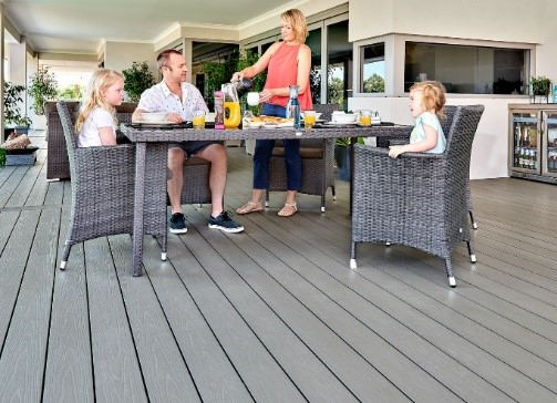 family Dinner on low maintenance composite timber deck