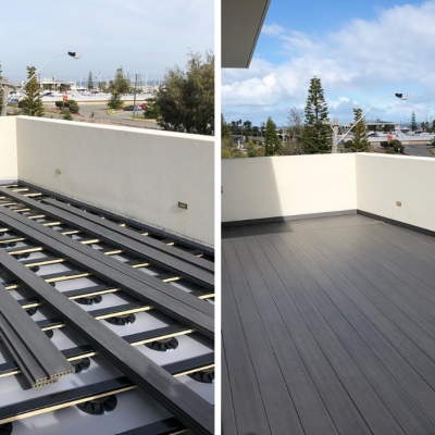 NIVO pedestals, before and after deck installation