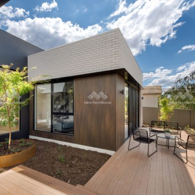Castellation Cladding in Aged Wood and decking in Teak, Curtin, ACT