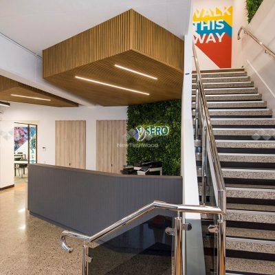 Castellation Cladding in Oak, lobby ceiling, Perth WA
