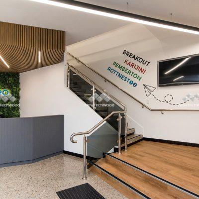 Castellation Cladding in Oak, in lobby ceiling, Perth WA